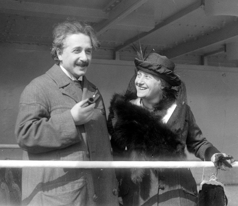 Albert Einstein with his wife Elsa
