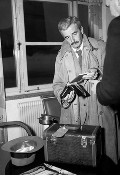 William Faulkner arriving in Stockholm