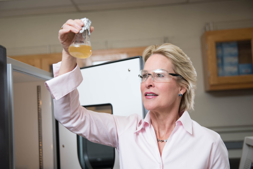 Chemistry Laureate Frances Arnold in the laboratory