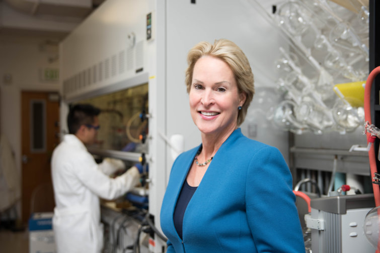 Frances Arnold at the lab