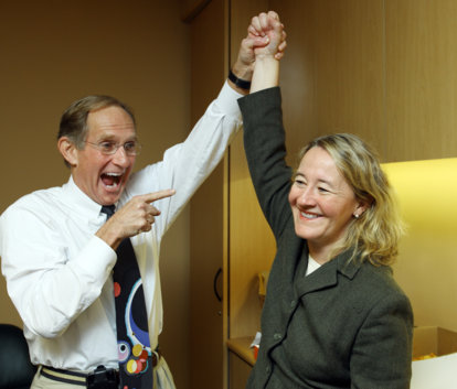 Carol W. Greider with colleague Peter Agre