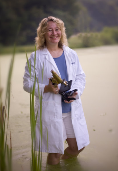 Carol W. Greider wades through the habitat of Tetrahymena