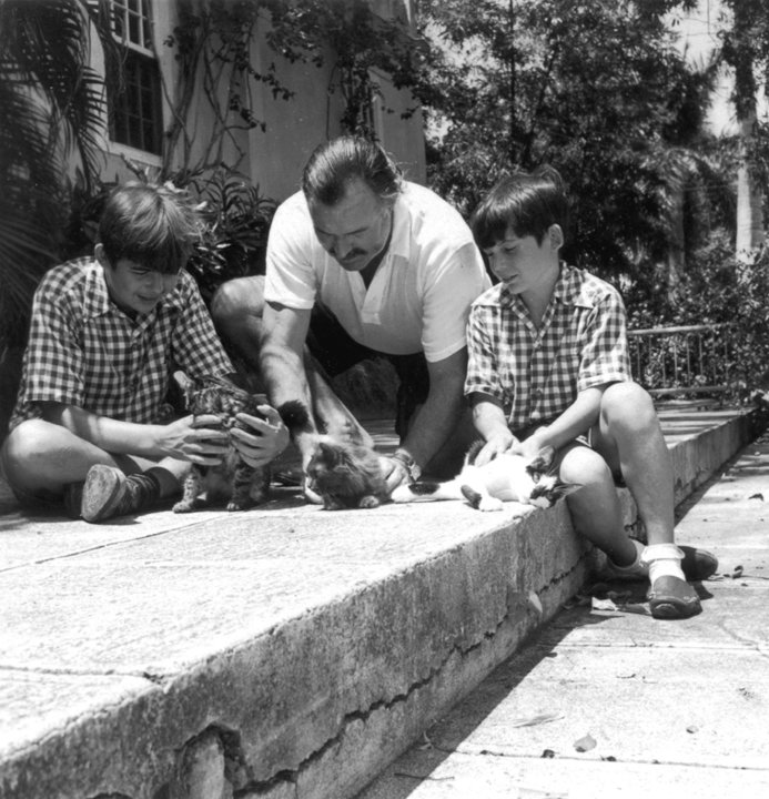 Ernest Hemingway and his sons Patrick and Gregory
