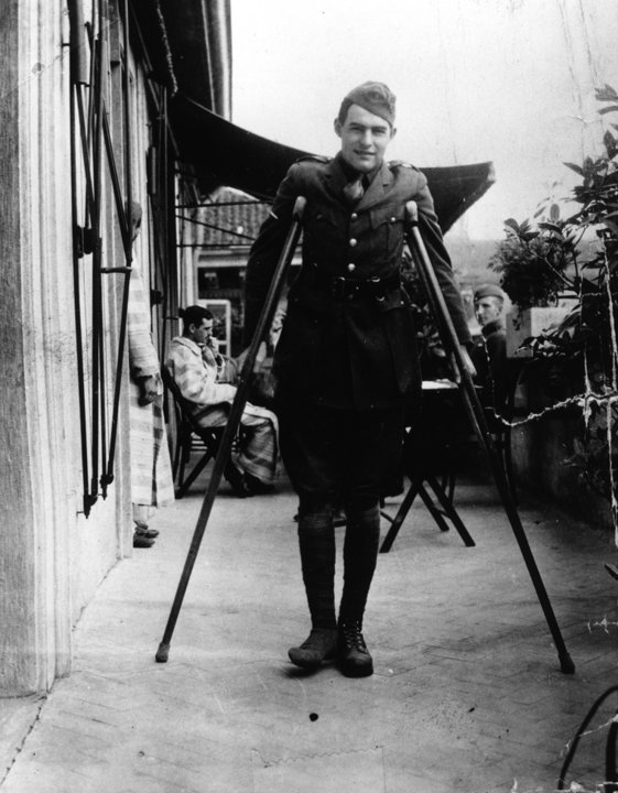 Ernest Hemingway, American Red Cross volunteer, recuperates from wounds