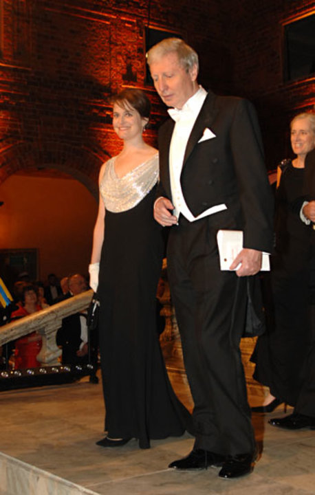 Jules A. Hoffmann arrives at the Nobel Banquet accompanied by Mrs Nancy Joy Riess, wife of Physics Laureate Adam G. Riess