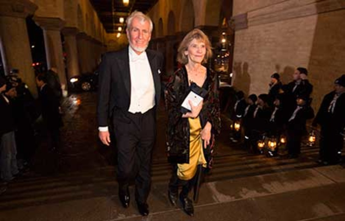 John O'Keefe arrives at the Nobel Banquet together with his wife, Professor Eileen O'Keefe, 10 December 2014.