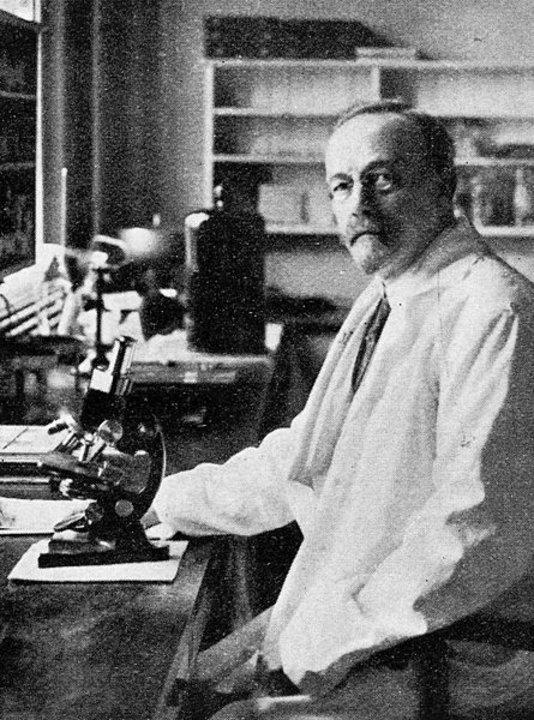 Johannes Fibiger in the laboratory. Public domain via Wikimedia Commons.