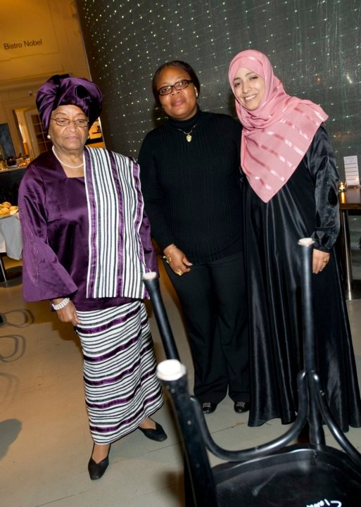 Nobel Peace Prize Laureates Ellen Johnson Sirleaf, Leymah Gbowee and Tawakkol Karman during their visit to the Nobel Museum in Stockholm