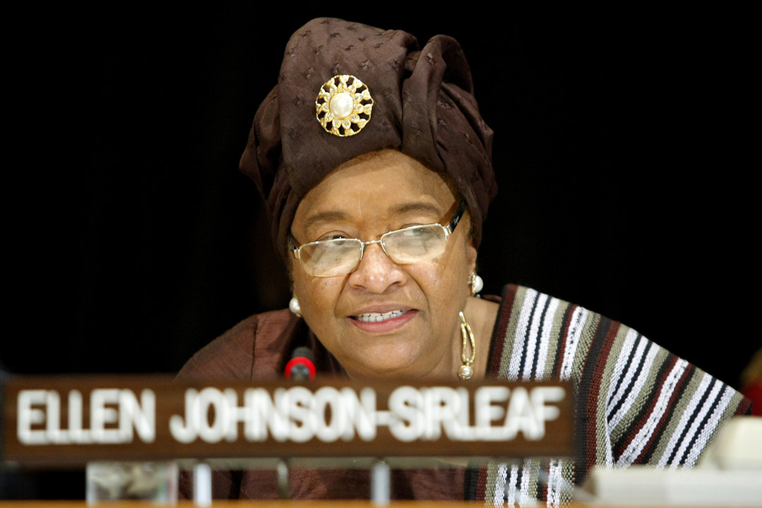 Ellen Johnson Sirleaf, President of Liberia, speaks at an United Nations event