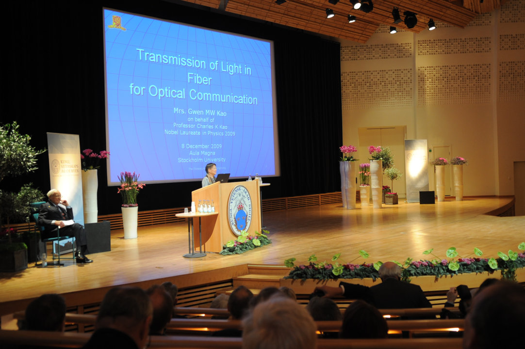 Charles K. Kao's Nobel Lecture was held by his wife, Mrs Gwen Kao