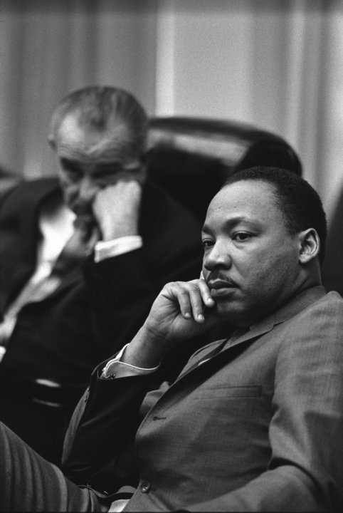 President Lyndon B. Johnson and Martin Luther King, Jr. in a meeting