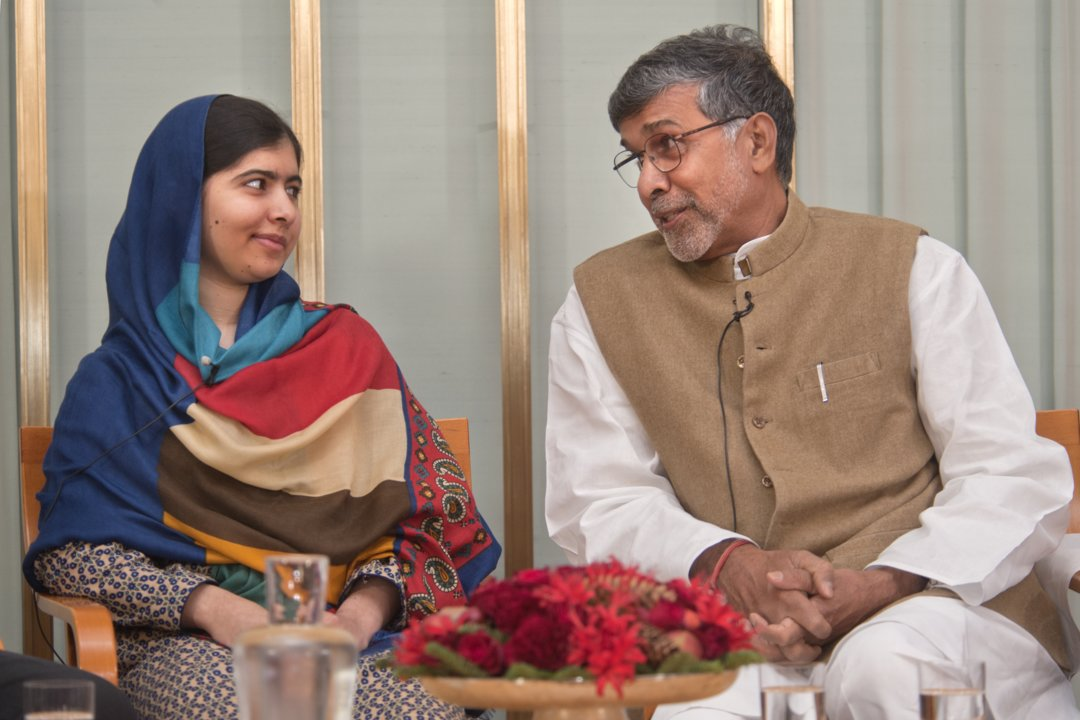 Malala Yousafzai and Kailash Satyarthi during a visit to the Norwegian Nobel Committee, 10 December 2014.
