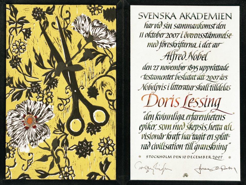 Doris Lessing - Nobel Diploma