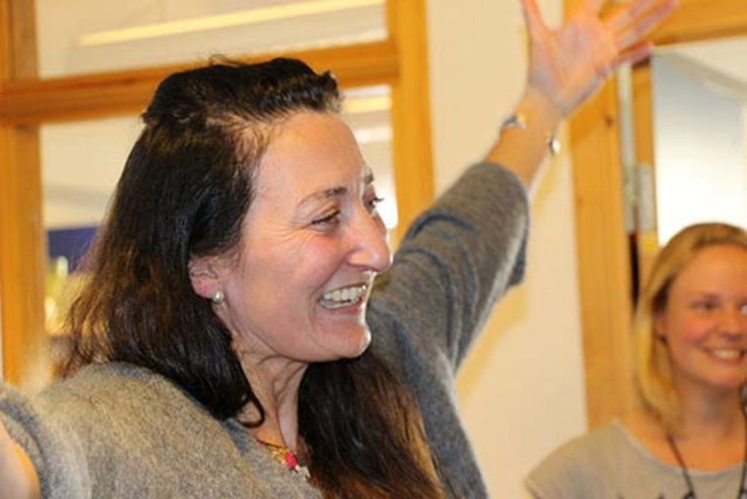 May-Britt Moser after receiving the news about the Nobel Prize. Photo: Nancy Bazilchuk, NTNU Communication Div.