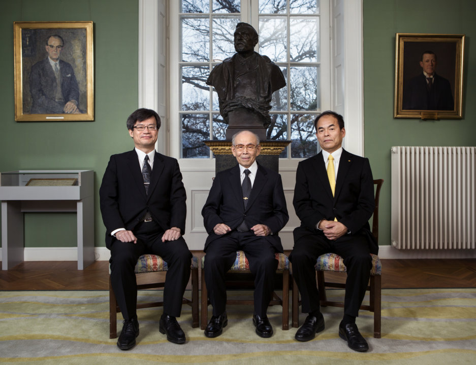 All three Physics Laureates assembled at the Royal Swedish Academy of Sciences on 7 December 2014. From left: Hiroshi Amano, Isamu Akasaki and Shuji Nakamura.