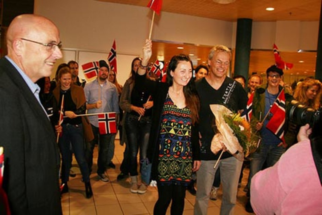 Nobel Laureate Edvard Moser is received at Trondheim Airport on Tuesday 7 October, after the announcement of the 2014 Nobel Prize in Physiology or Medicine. Photo: Idun Haugan, NTNU Comm.Div.