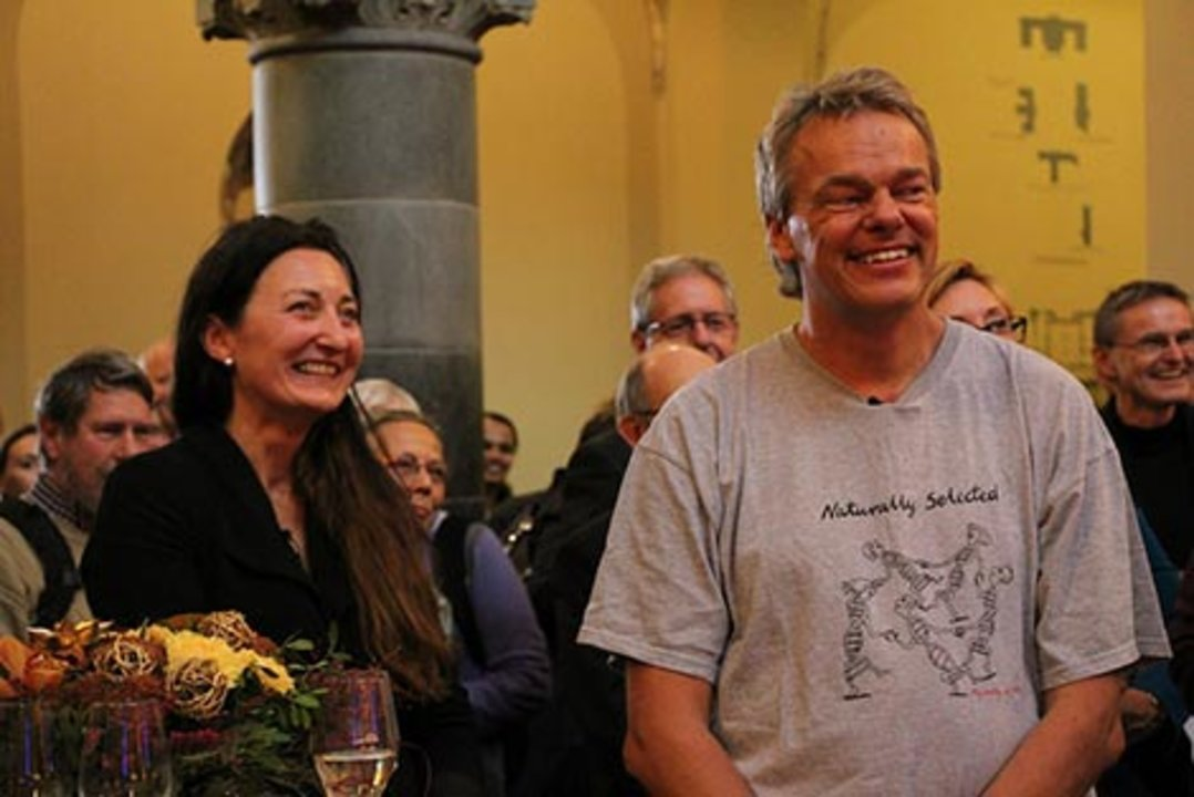 Nobel Laurates May-Britt and Edvard Moser at a reception at NTNU Trondheim after the announcement of the 2014 Nobel Prize in Physiology or Medicine. Photo: Nancy Bazilchuk, NTNU Communication Division