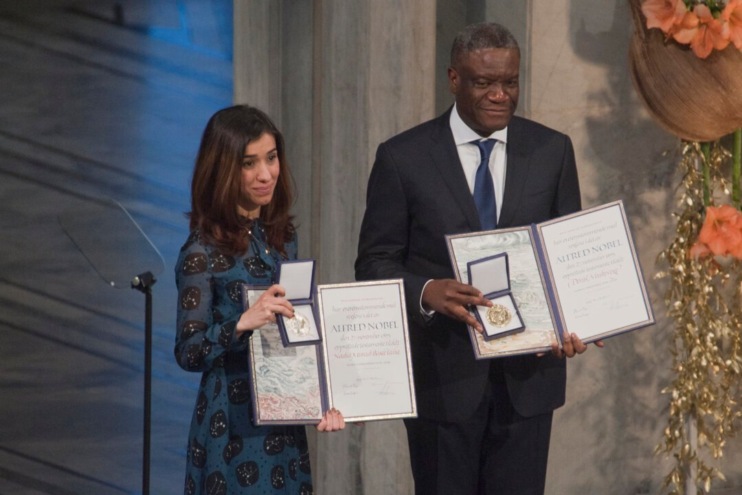 Murad and Mukwege at award ceremony 2018
