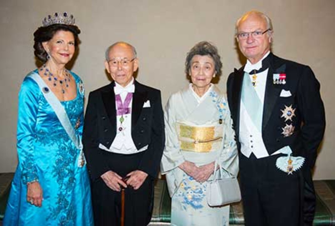 The Swedish Royals receive the Nobel Laureates and their significant others in the Prince's Gallery after the Nobel Banquet. From left to right: Her Majesty Queen Silvia, Isamu Akasaki, Mrs Ryoko Akasaki and His Majesty King Carl XVI Gustaf of Sweden.