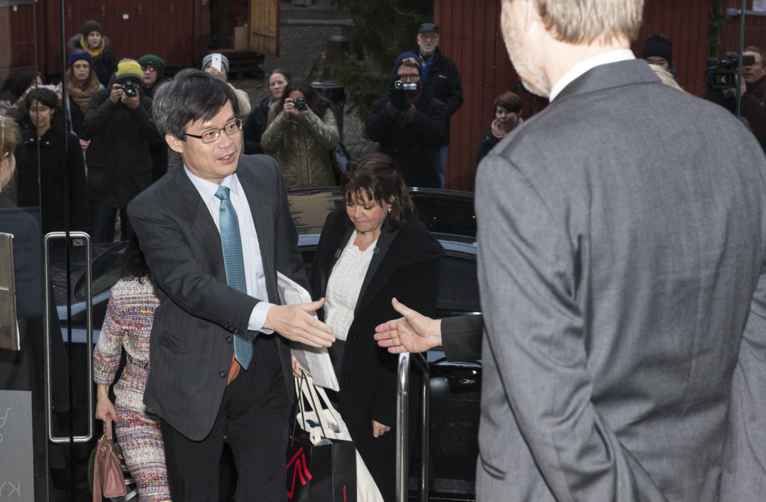 Hiroshi Amano arriving at the Nobel Museum in Stockholm, Sweden, for the 2014 Nobel Laureates' Get together on 6 December 2014.