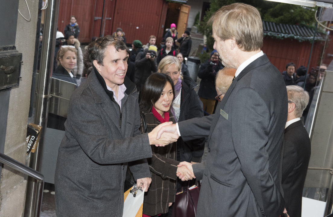 Eric Betzig arriving at the Nobel Museum in Stockholm, Sweden, for the 2014 Nobel Laureates' Get together on 6 December 2014.