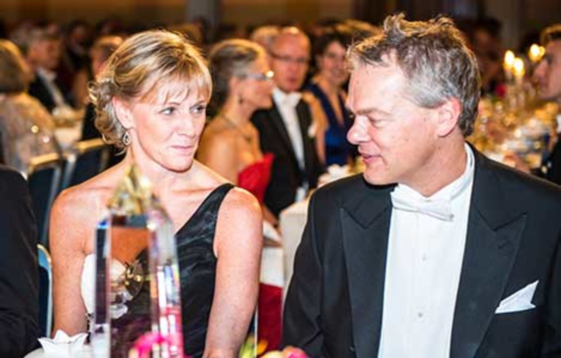 Edvard I. Moser and Mrs Jenni Ahlin at the table of honour at the Nobel Banquet, 10 December 2014.