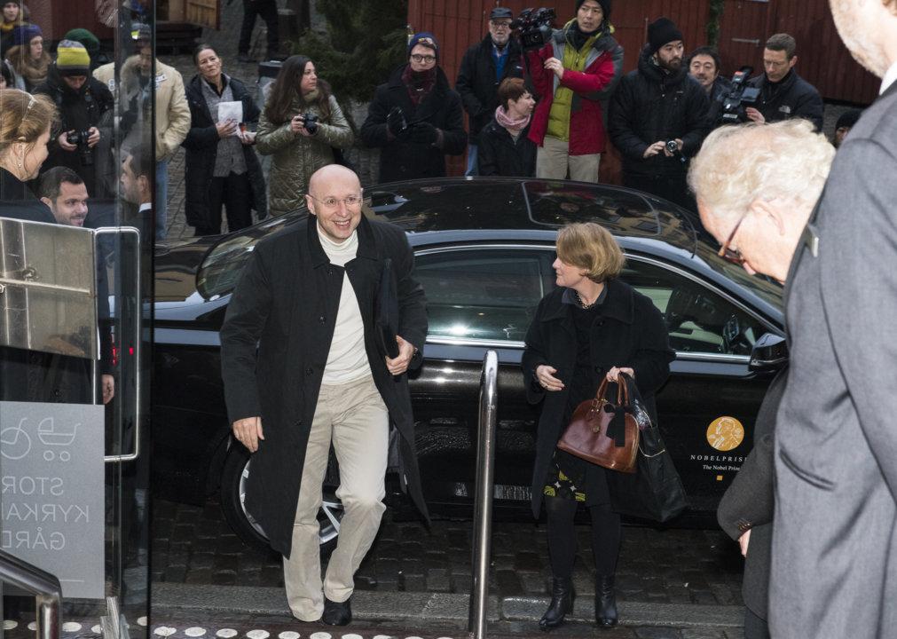 Stefan W. Hell arriving at the Nobel Museum in Stockholm, Sweden, for the 2014 Nobel Laureates' Get together on 6 December 2014.