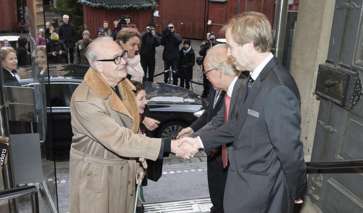Patrick Modiano arriving at the Nobel Museum in Stockholm, Sweden, for the 2014 Nobel Laureates' Get together on 6 December 2014.