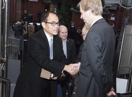 Shuji Nakamura arriving at the Nobel Museum in Stockholm, Sweden, for the 2014 Nobel Laureates' Get together on 6 December 2014.