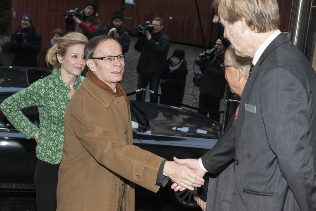 Jean Tirole arriving at the Nobel Museum in Stockholm, Sweden, for the 2014 Nobel Laureates' Get together on 6 December 2014.