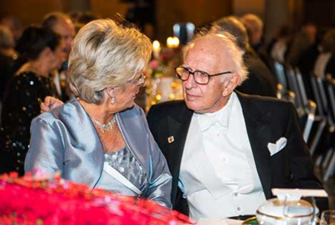 Nobel Laureate Eric R. Kandel and Catharina Lindqvist at the table of honour at the 2014 Nobel Banquet, 10 December 2014.