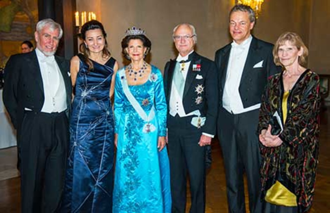 Members of the Swedish Royal Family receive the Laureates and their significant others in the Prince's Gallery after the Nobel Banquet. From left to right: John O'Keefe, May-Britt Moser, Her Majesty Queen Silvia, King Carl XVI Gustaf, Edvard I. Moser and and  Professor Eileen O'Keefe.