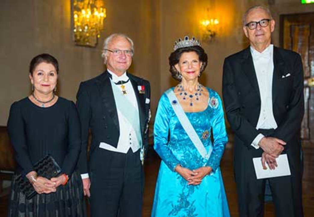 The Swedish Royals receive the Nobel Laureates and their significant others in the Prince's Gallery after the Nobel Banquet. From left to right: Dominique Modiano, His Majesty King Carl XVI Gustaf of Sweden, Her Majesty Queen Silvia, and Patrick Modiano.