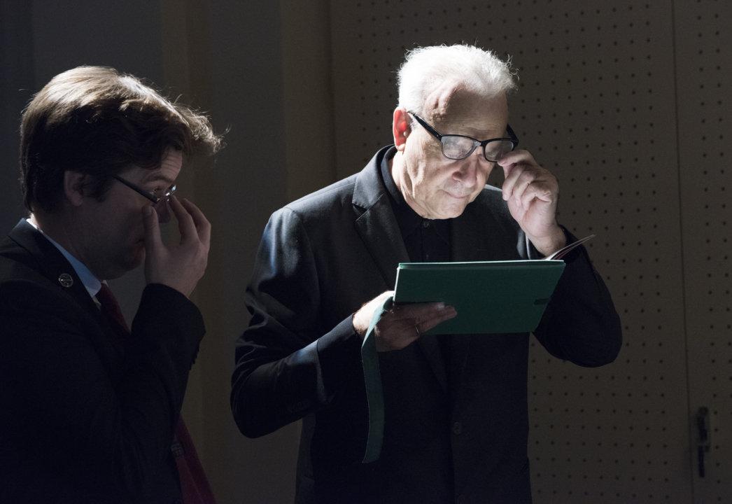 Patrick Modiano at the 2014 Nobel Laureates' Get together at the Nobel Museum in Stockholm, Sweden, on 6 December 2014.