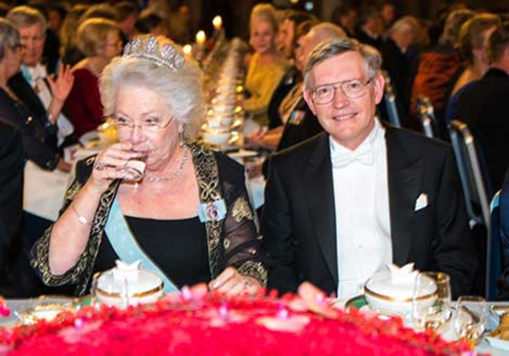 Princess Christina of Sweden and William E. Moerner at the table of honour.