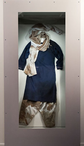 The school uniform Malala Yousafzai wore when she was shot in the head by a Taliban gunman in October 2012. Copyright © Nobel Peace Center 2014. Photo: Johannes Granseth.