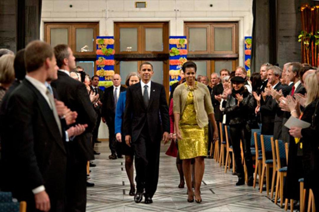 Michelle and Barack H. Obama arrives at the Nobel Prize Award Ceremony