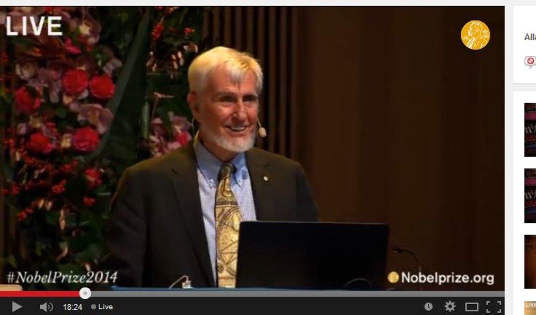 John O'Keefe delivering his Nobel Lecture at Aula Medica, Karolinska Institutet in Stockholm, on 7 December 2014.
