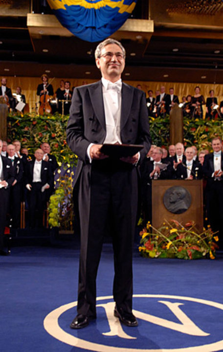 Orhan Pamuk after receiving his Nobel Prize