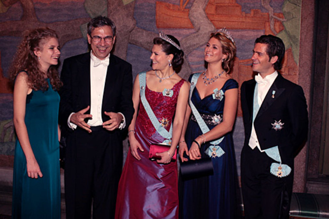 Nobel Laureate Orhan Pamuk, his daughter, Rüya, and the Royal Swedish siblings