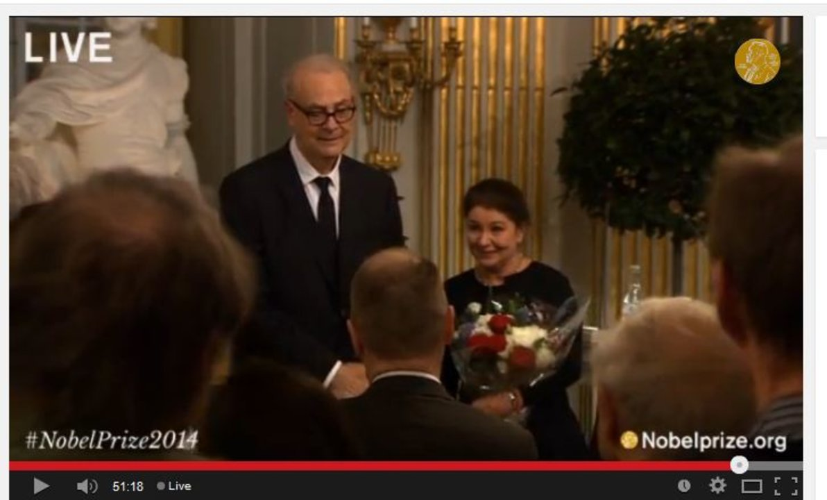 Patrick Modiano and his wife Dominique Modiano are congratulated by the public after the Nobel Lecture at the Swedish Academy in Stockholm, 7 December 2014.