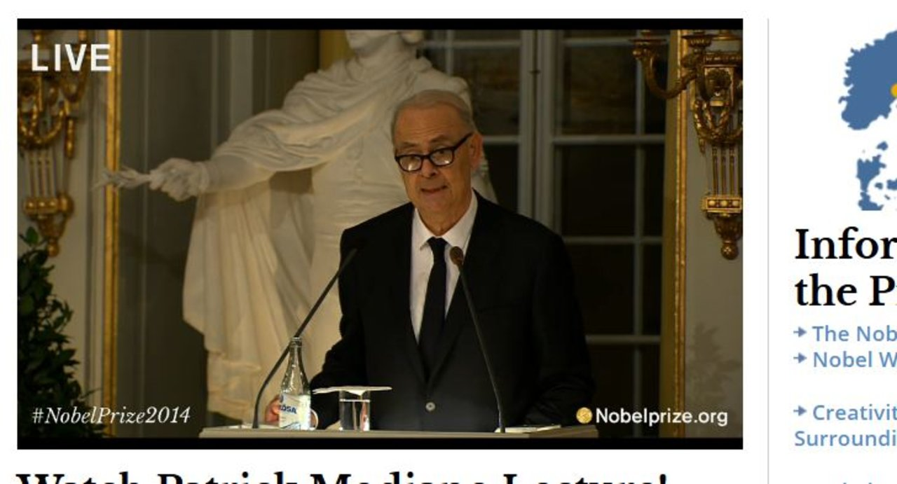 Patrick Modiano delivering his Nobel Lecture in the hall of the Swedish Academy in Stockholm, 7 December 2014.