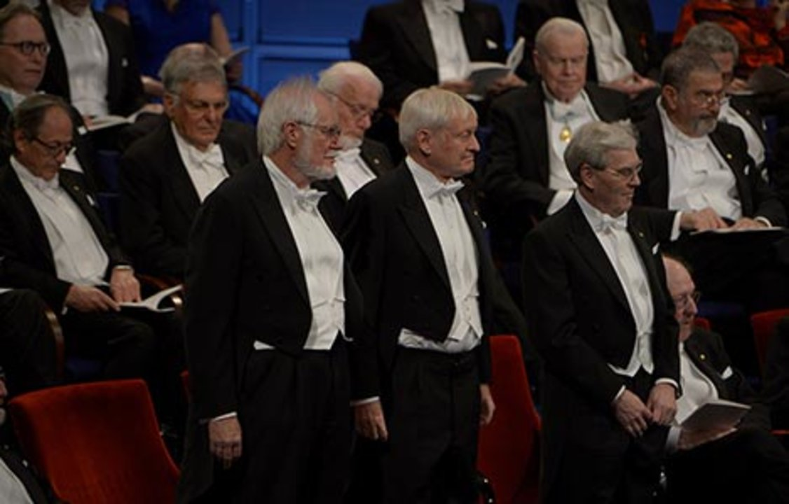 All thre Chemistry Laureates at the stage