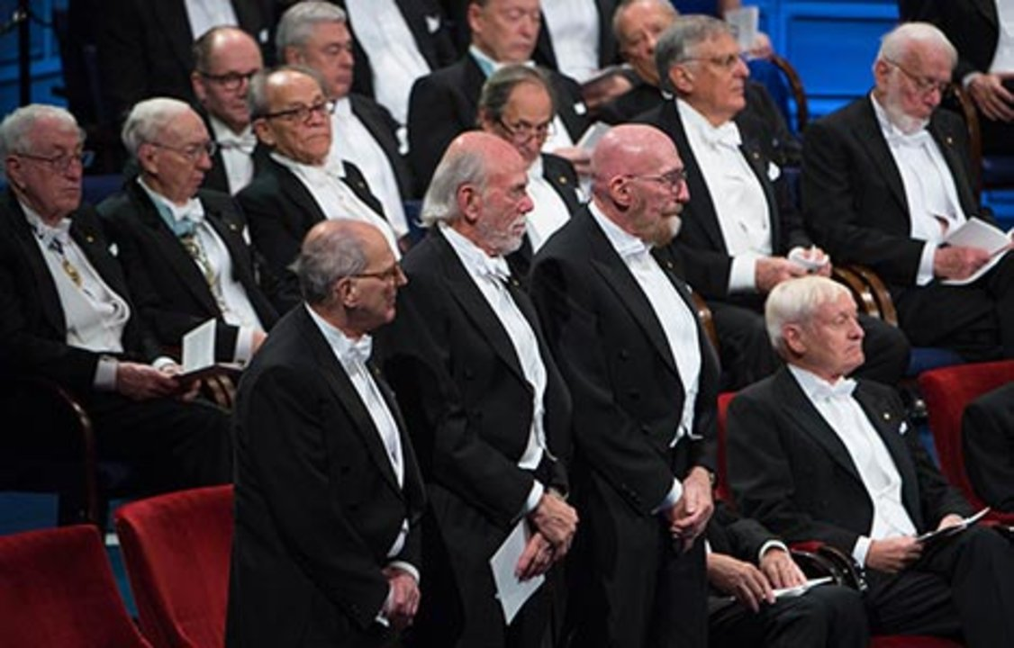 All thre Physics Laureates at the stage
