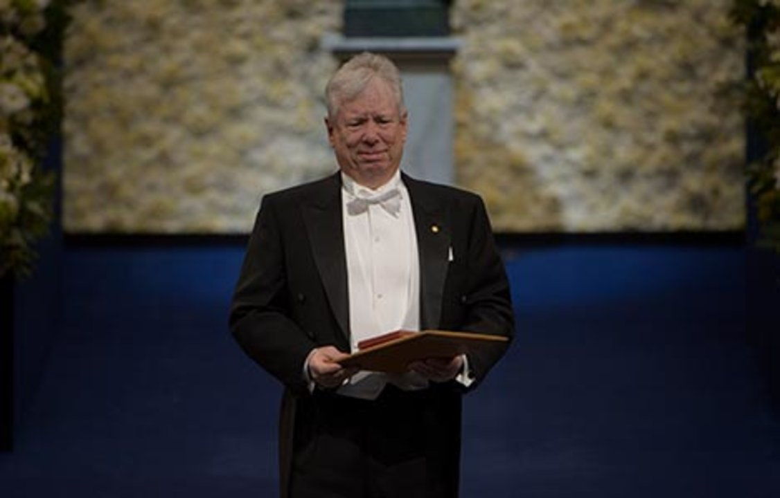 Richard H. Thaler after receiving his Prize at the Stockholm Concert Hall