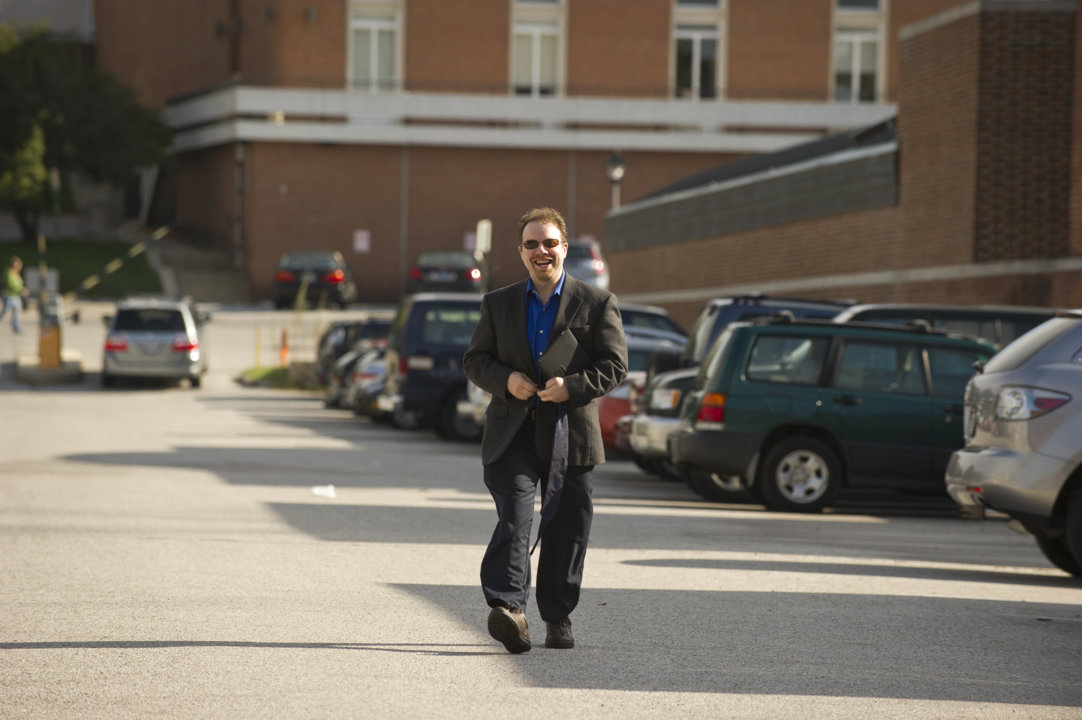 Adam Riess arriving at the parking lot at Johns Hopkins University