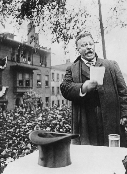 Theodore Roosevelt campaigning for President