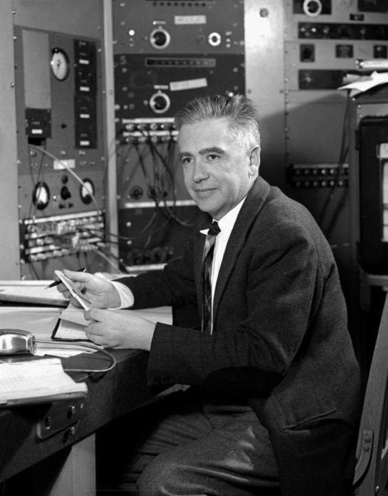 Emilio Segrè in his laboratory, 28 April 1954