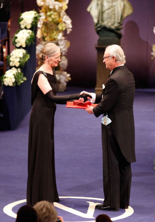 Mrs Claudia Steinman receiving the Nobel Medal and Diploma on behalf of the late Professor Ralph M. Steinman