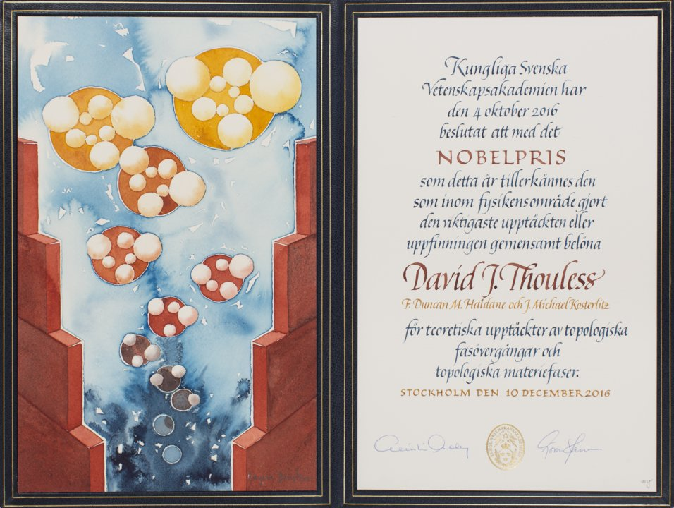 David J. Thouless - Nobel Diploma